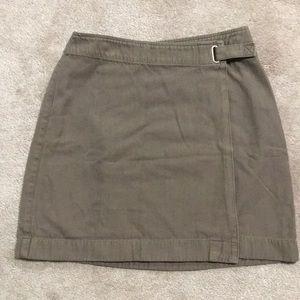 Ann Taylor Loft Wrap Skirt Olive Green Size 2